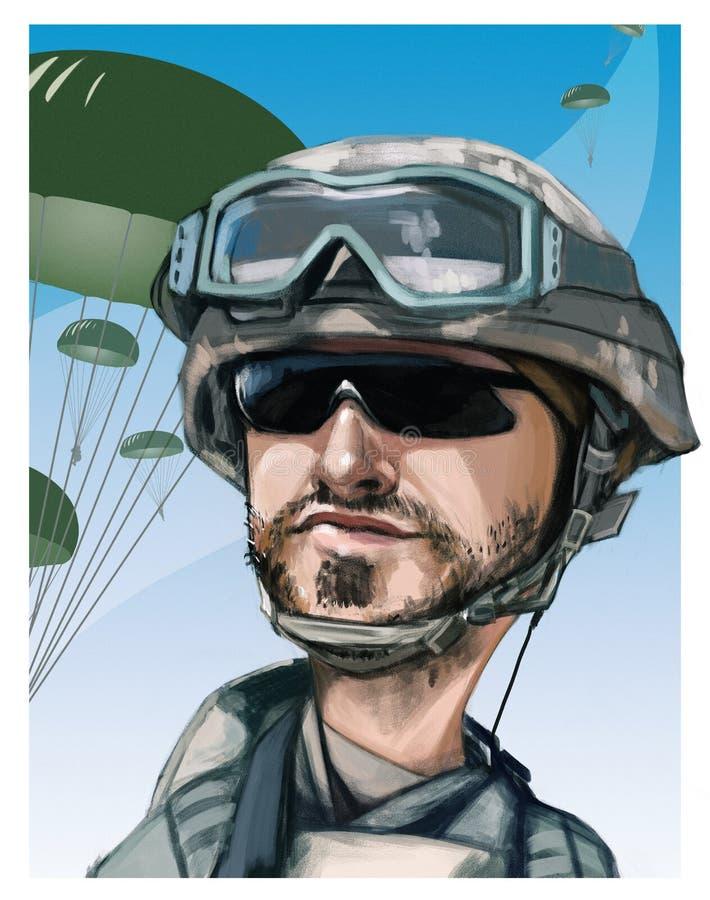 Parachutiste des Etats-Unis illustration de vecteur