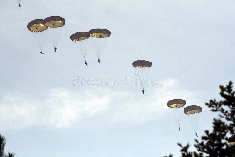 Parachutists fotografia de stock royalty free