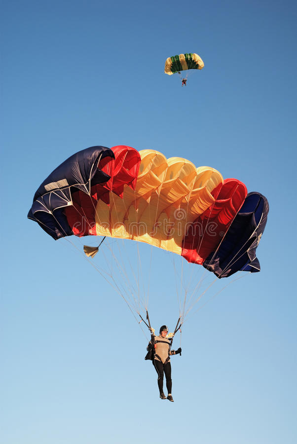 Parachutists in air royalty free stock images