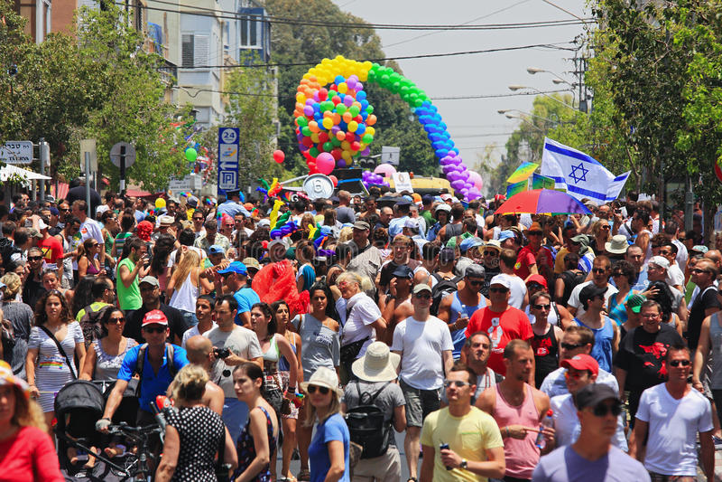 Parada alegre do orgulho em Telavive, Israel. foto de stock