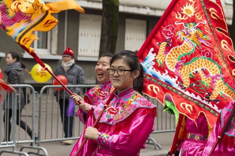 A parada chinesa do ano novo, Paris, França fotografia de stock