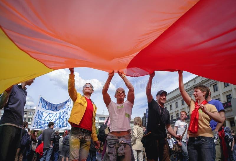 Parada da igualdade em Varsóvia imagens de stock