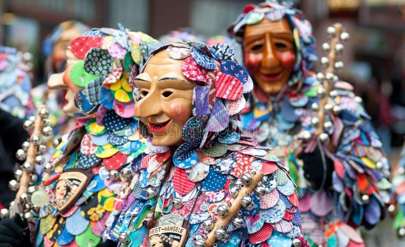 Parada da máscara em Freiburg, Alemanha fotografia de stock