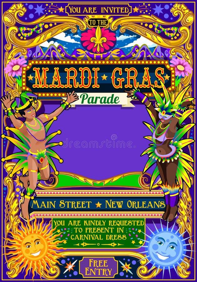 Parada da mostra da máscara do carnaval de Mardi Gras Carnival Poster Illustration ilustração stock