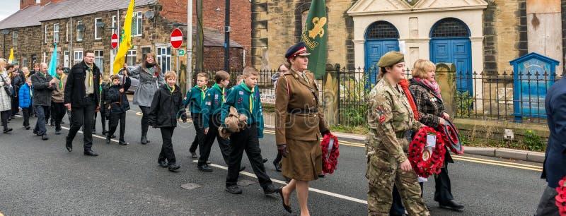A parada da relembrança na relembrança domingo 2016 em Wrexham Gales foto de stock