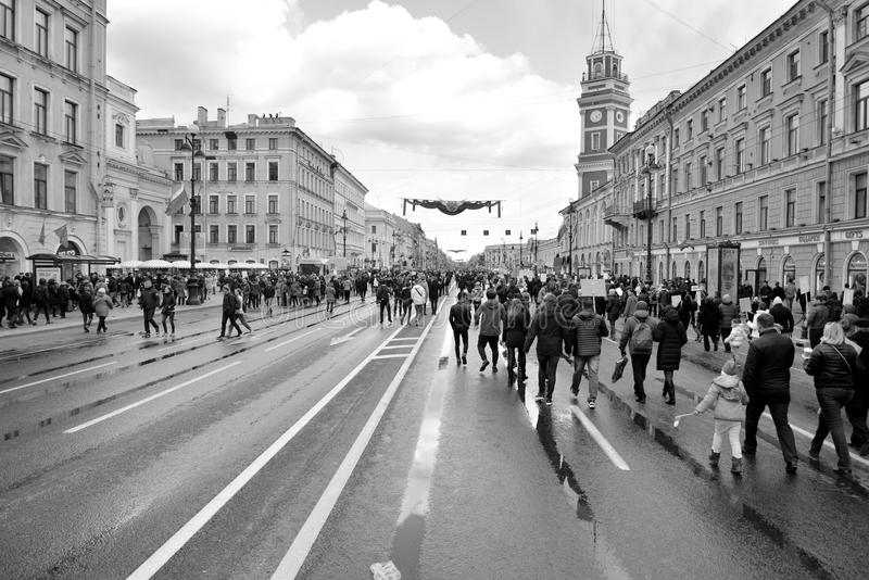 Parada da vitória em St Petersburg foto de stock