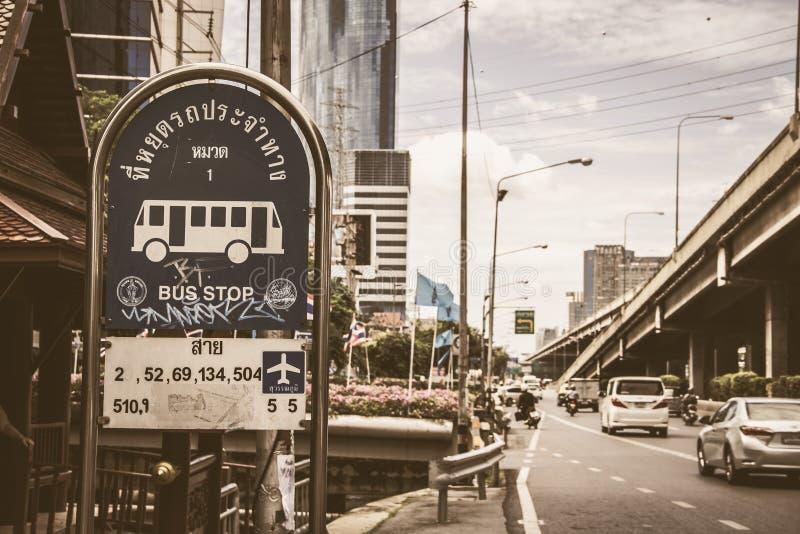Parada de autobús BKK Tailandia imágenes de archivo libres de regalías