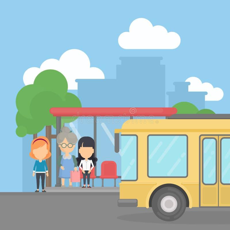 Parada de autobús con los pasajeros stock de ilustración