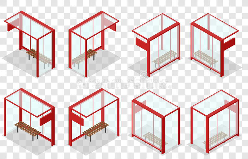 Parada de autobús de cristal roja Parada isométrica stock de ilustración