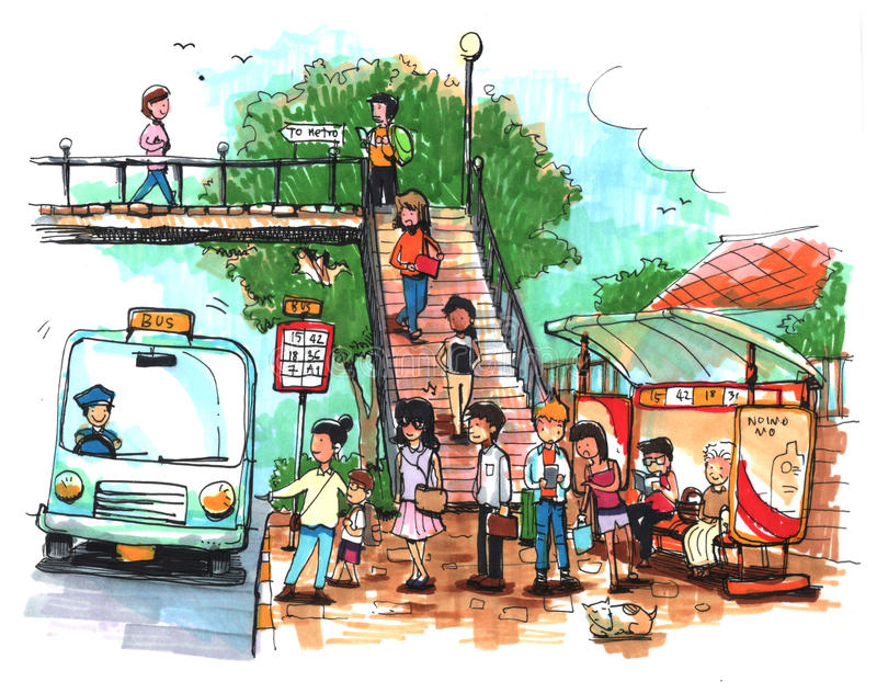 Parada de autobús, ejemplo del transporte público stock de ilustración