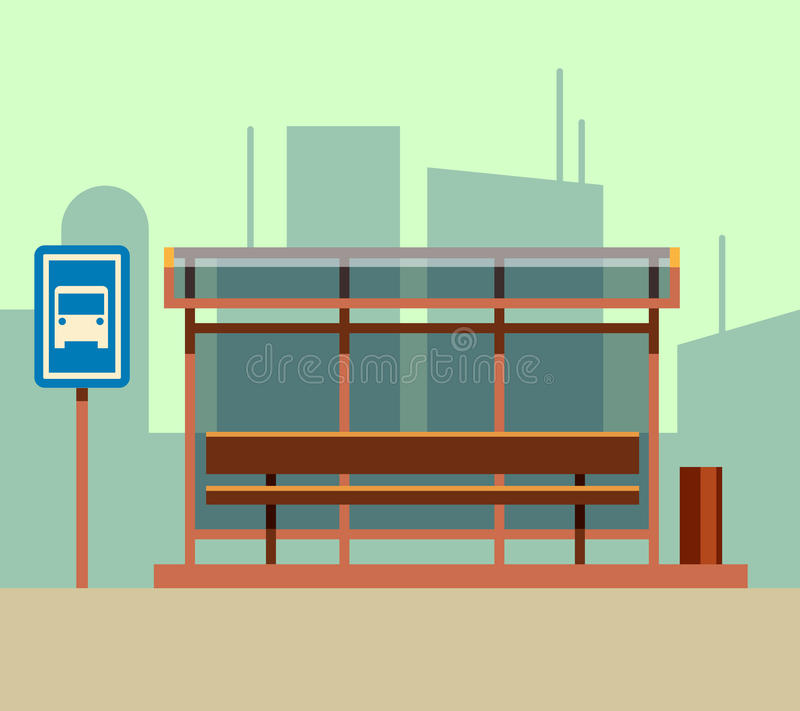 Parada de autobús en paisaje de la ciudad Ejemplo plano del vector ilustración del vector