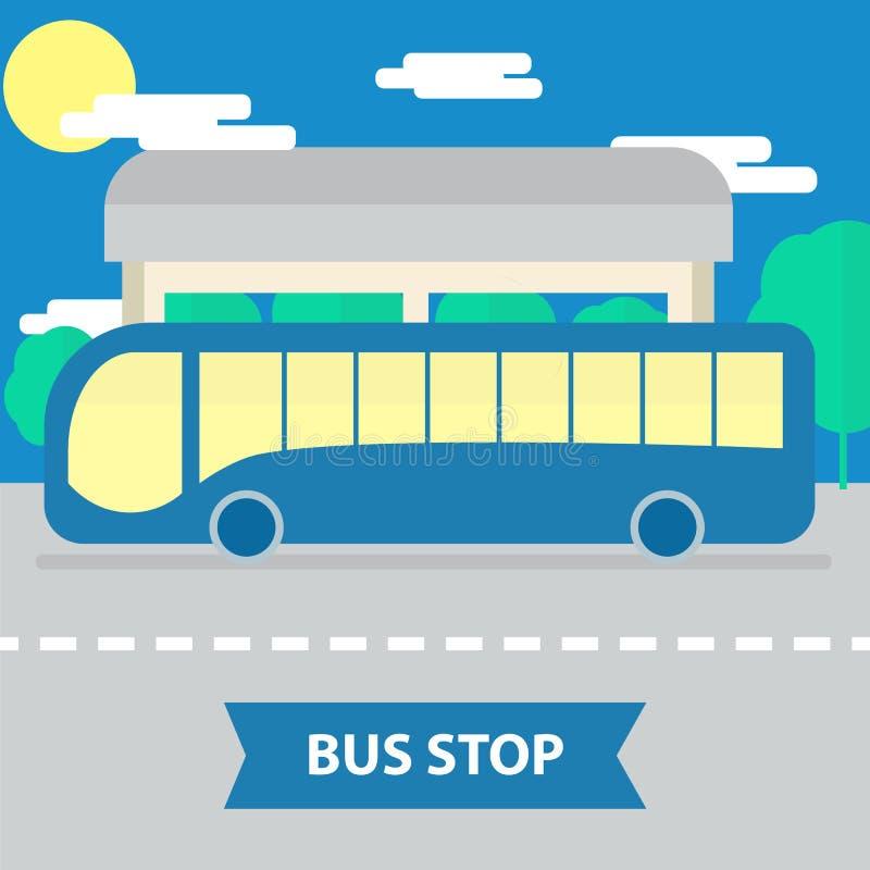 Download Parada de autobús plana ilustración del vector. Ilustración de paseo - 64211437