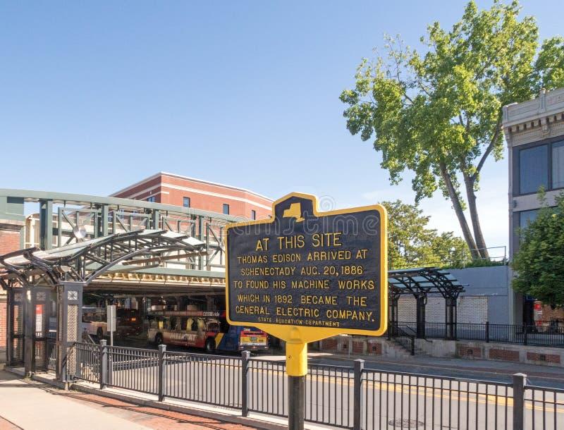 Parada de Edison do sinal histórico primeira antes de formar G e foto de stock royalty free
