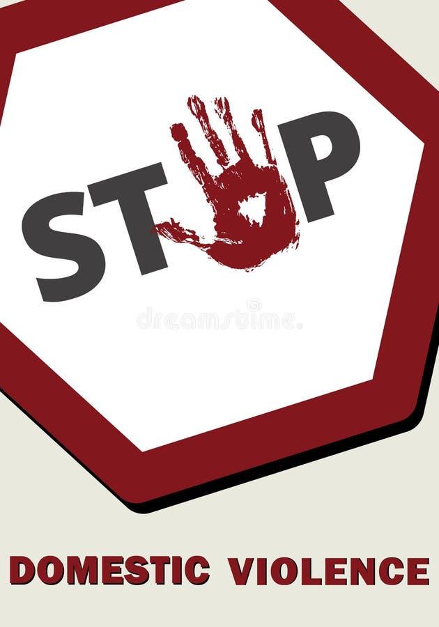 Parada de la violencia en el hogar Señal de parada roja ilustración del vector