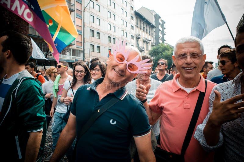Parada de orgulho alegre em Milão em junho, 29 2013 imagem de stock royalty free