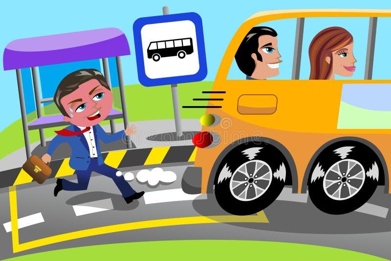 Parada de Running Late Bus del hombre de negocios faltada stock de ilustración