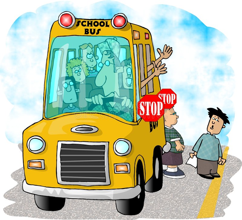 Parada del autobús escolar ilustración del vector
