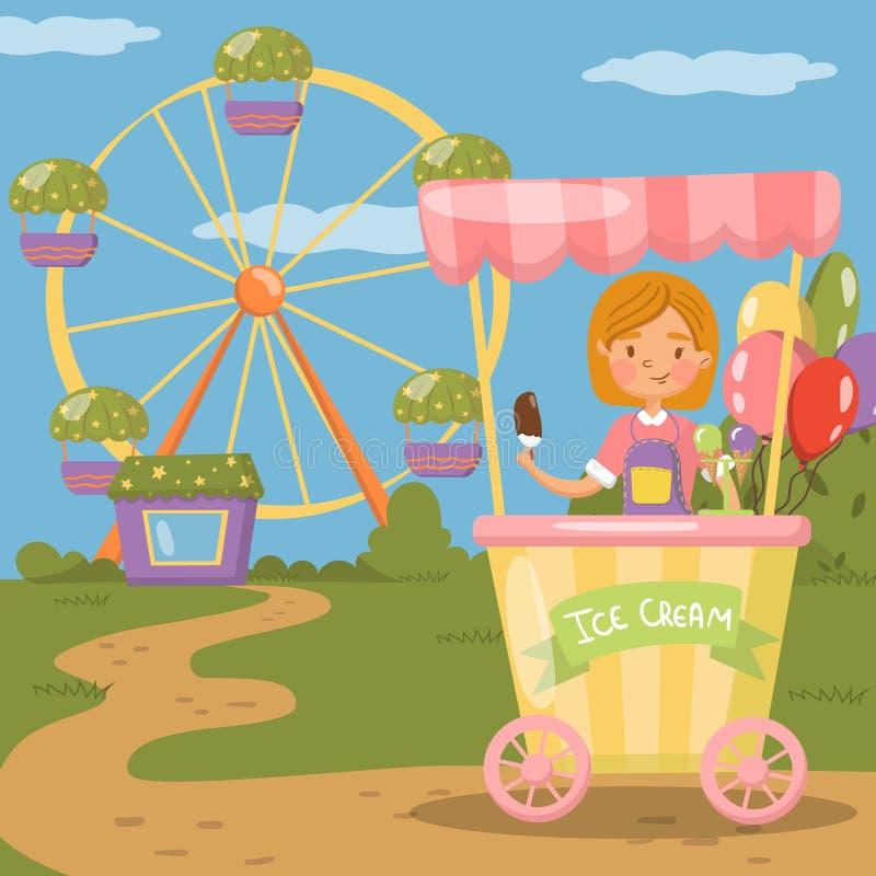Parada del helado, ejemplo del vector del concepto del parque de atracciones, ilustración del vector