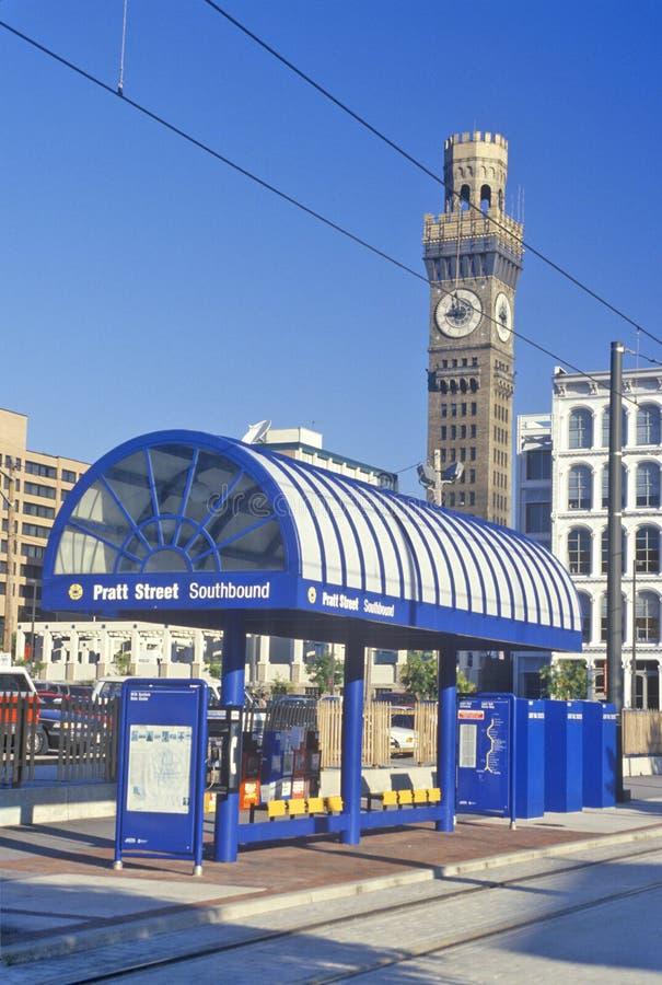 Parada del metro de la calle de Pratt, Baltimore, Maryland foto de archivo libre de regalías