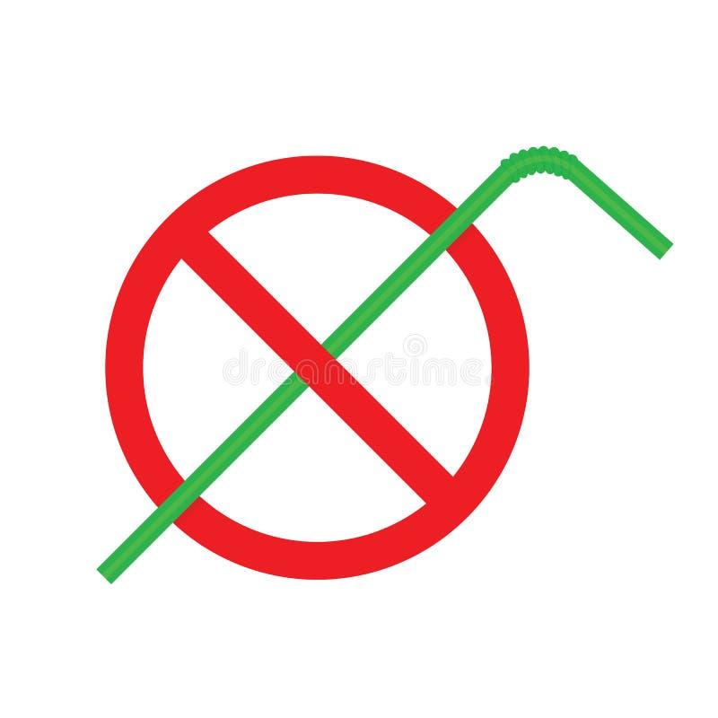 A parada desperdiça o plástico do tubo da palha, desperdiça o vermelho do sinal da palha bebendo, logotipo do uso da parada da ilustração do vetor