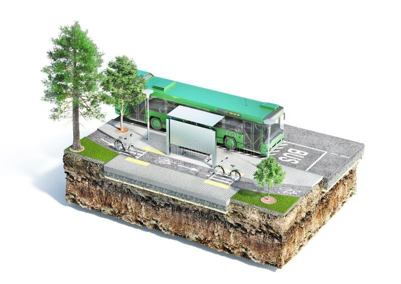 Parada do ônibus da cidade na parte de terra Veja a estrutura da estrada ilustra??o 3D ilustração do vetor