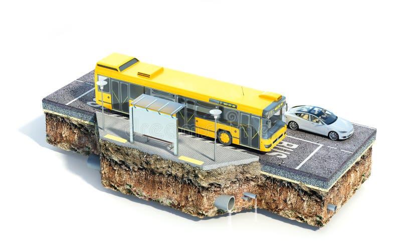 Parada do ônibus da cidade na parte de terra Veja a estrutura da estrada ilustra??o 3D ilustração stock