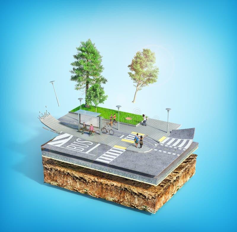 Parada do ônibus da cidade na parte de terra Veja a estrutura da estrada ilustra??o 3D ilustração royalty free
