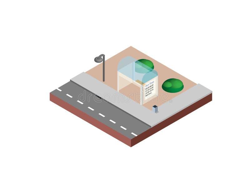 A parada do ônibus em desenhistas criativos necessários da projeção isométrica para a Web projeta-se Parada do ônibus isométrica  ilustração royalty free