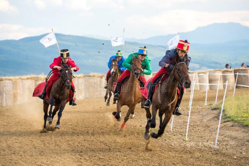 Parada do cavalo, durante uma mostra do cavalo com cavaleiros novos imagens de stock royalty free