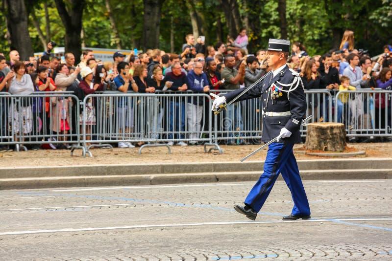 Parada do coronel Military do Gendarmerie nacional ( Defile) durante o ceremonial do nacional francês d fotografia de stock royalty free