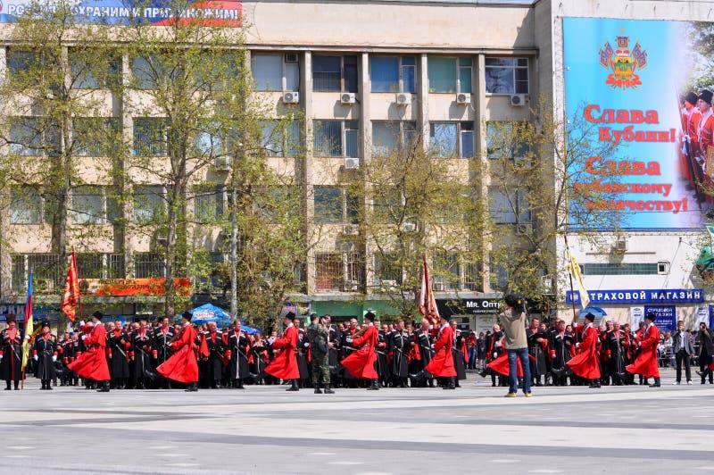 Parada do Cossack abril em 21, 2012 em Krasnodar, Rus fotografia de stock
