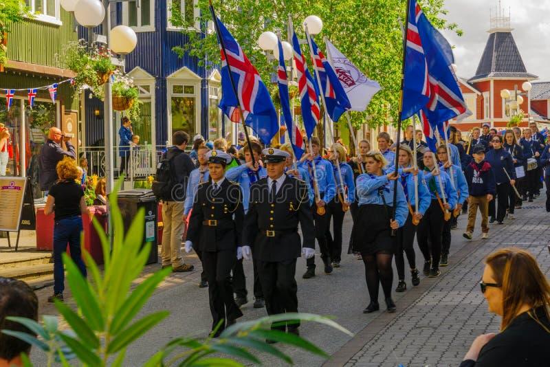 Parada do Dia da Independência em Akureyri fotografia de stock