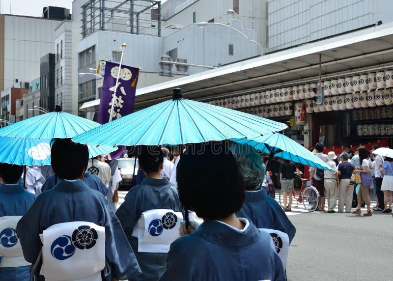 Parada do festival de Gion no verão, Kyoto Japão fotografia de stock