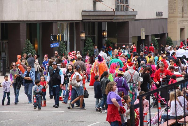 Parada do Natal do relógio dos povos fotografia de stock