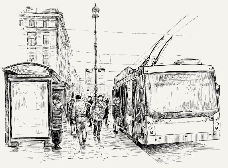 Parada do ônibus bonde na cidade grande ilustração royalty free