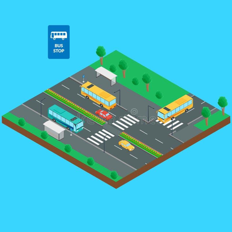 Parada do ônibus e estrada ilustração stock