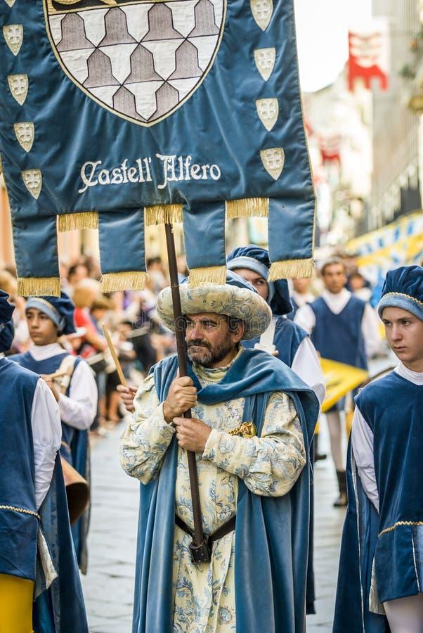 Parada do nobre medieval, Palio em Itália fotografia de stock