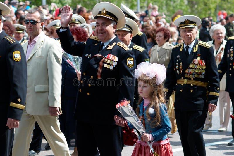 Parada do veterano do russo. foto de stock