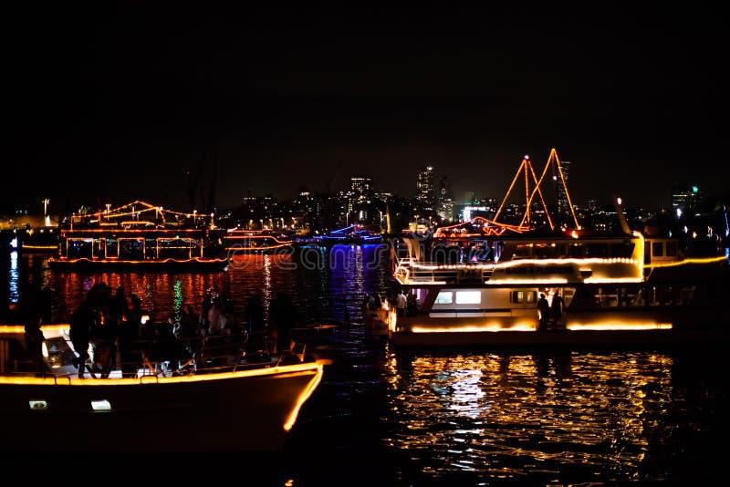Parada dos barcos de Sydney NYE 2015 imagem de stock royalty free