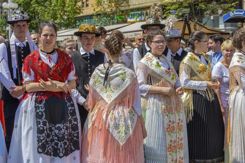 Parada dos trajes populares Swabian, Timioara, Romênia fotografia de stock royalty free