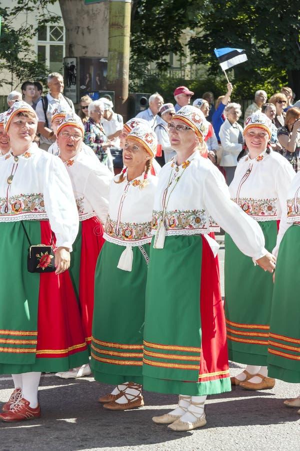 Parada Estoński krajowy pieśniowy festiwal w Tallinn, Estonia obraz stock