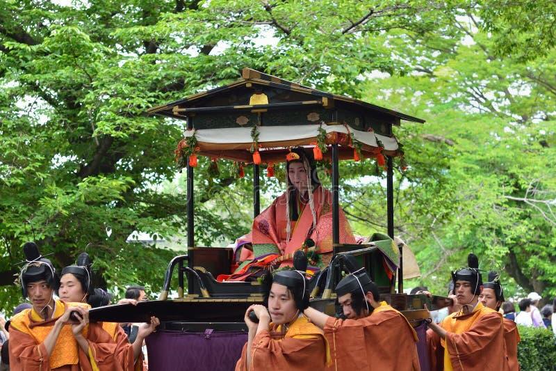 Parada Kyoto Aoi festiwal, Japonia obrazy stock