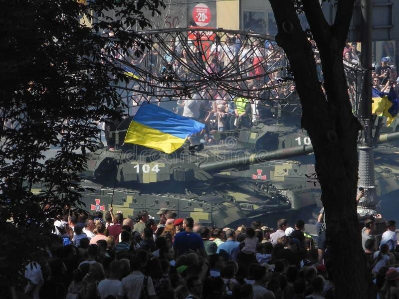 Parada militarny narzędzia w Kijów w Ukraina 2018 zdjęcie stock