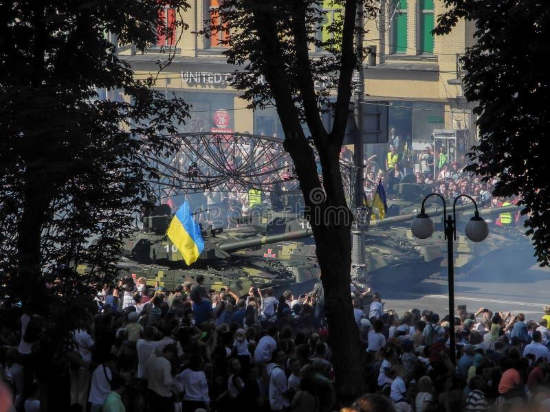 Parada militarny narzędzia w Kijów w Ukraina 2018 obraz royalty free