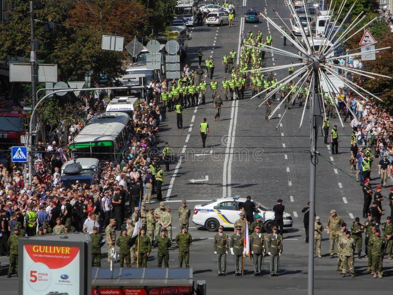 Parada militarny narzędzia w Kijów w Ukraina 2018 fotografia royalty free