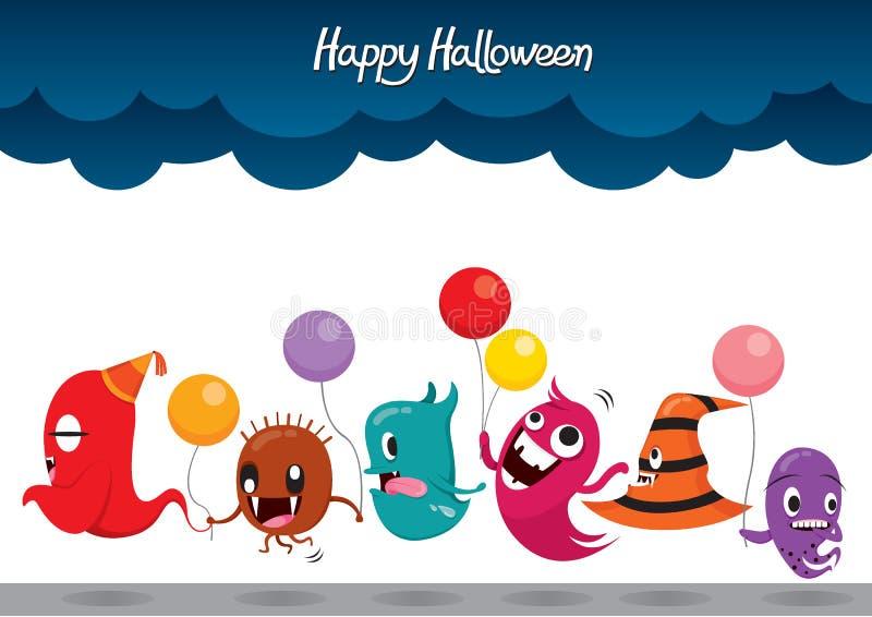 Parada potwora Halloween Śmieszny przyjęcie ilustracji