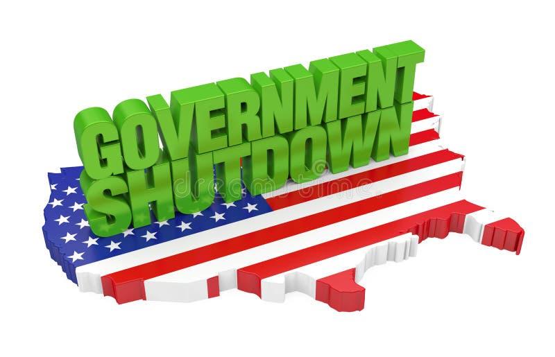A parada programada do governo com a bandeira do mapa do Estados Unidos isolou-se ilustração royalty free