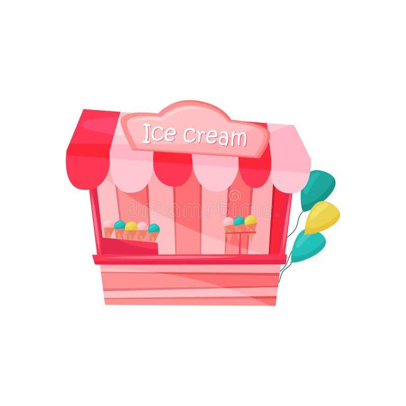 Parada rosada del helado adornada con los globos coloridos Postre sabroso Comida del carnaval Parque de atracciones Icono plano d stock de ilustración
