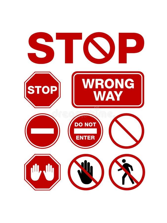 A parada simples nenhuma incorpora o sinal ilustração stock