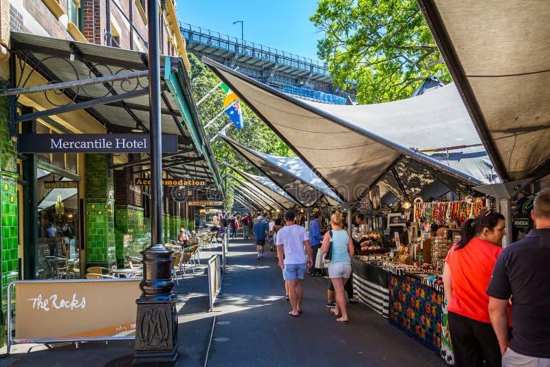 Paradas y café en las rocas, Sydney Harbour, Sydney, Australia del mercado imagenes de archivo